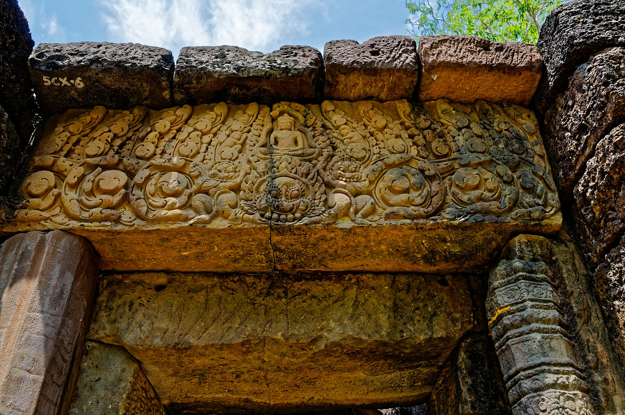 The <i>kala,</i> at times considered symbolic of the all-devouring nature of time, was associated with the destructive side of Shiva and was commonly enlisted as a threshold guardian on the lintels at Khmer sites, a practice derived from Hindu temples dedicated to Shiva in India.