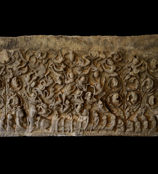 Detail of a 12th-century lintel found at Prasat Prang Ku, now in the Phimai National Museum, Nakhon Ratchasima Province. Depicted is a scene from the Hindu classic <i>Ramayana.</i> At the bottom are Rama and his brother Lakshmana, who have been ensnared in the coils of a serpent arrow while doing battle with the forces of archenemy Ravana, much to the dismay of Rama's monkey warrior allies, seen gesticulating above and straddling the brothers' legs.
