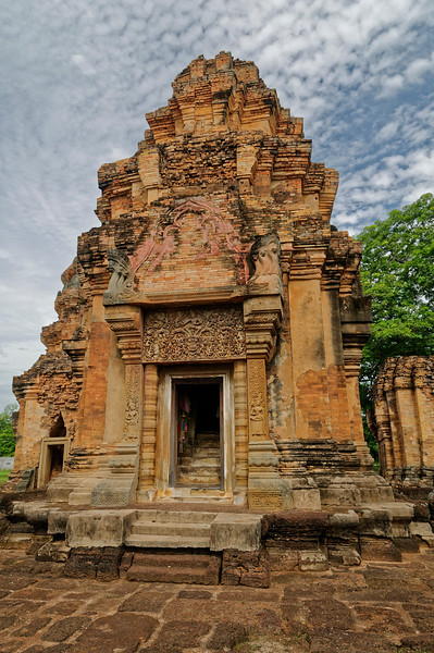 With Khmer society hierarchically structured under a god-king, the central sanctuaries of their temples were entered only by the priests and by royalty—possibly by local officials or donors in outlying provinces. Accordingly, the holy space containing the image representing the honored deity was quite small.