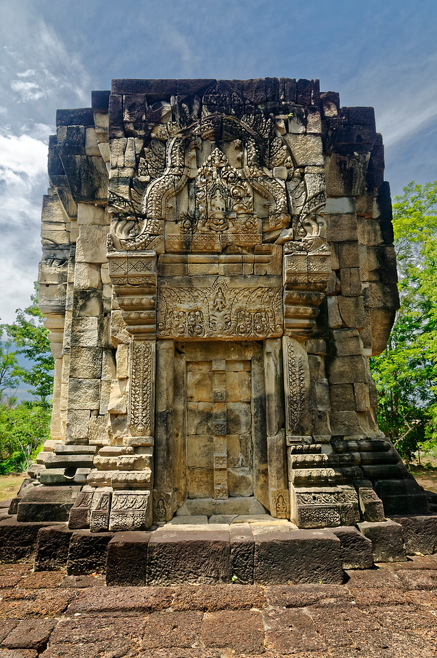 Indra appears again atop Erawan (who here has only a single head) on the pediment on the north side of the tower. This somewhat unusual repetition of appearances by Indra on a single tower would seem to lend at least some credence to the idea that the sanctuary was in fact dedicated to him.