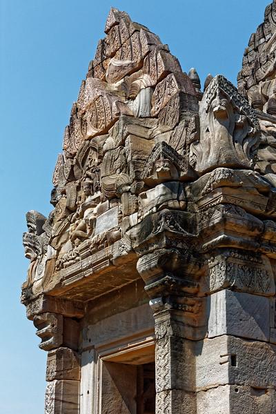 Guardian serpentlike <i>naga</i> keep watch over the main entry to the <i>mandapa.</i>