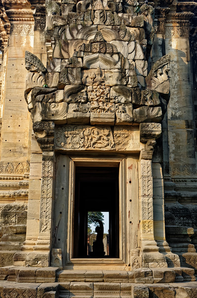 The pediment and lintel above the eastern entry depict scenes from the <i>Ramayana.</i>