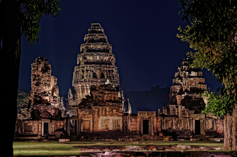 Prang Hin Daeng ('Red Stone Tower'), left; the <i>prang,</i> or central tower, center; and the laterite tower Prang Brahmadat, right—all standing behind the southern wall of the inner gallery