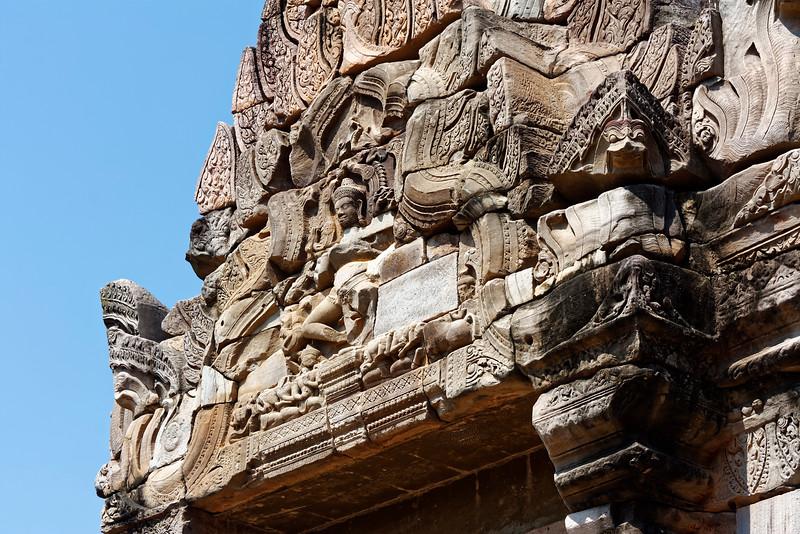 The dancing Shiva, Shiva Nataraja, over the main entry to the <i>mandapa</i> and inner sanctuary