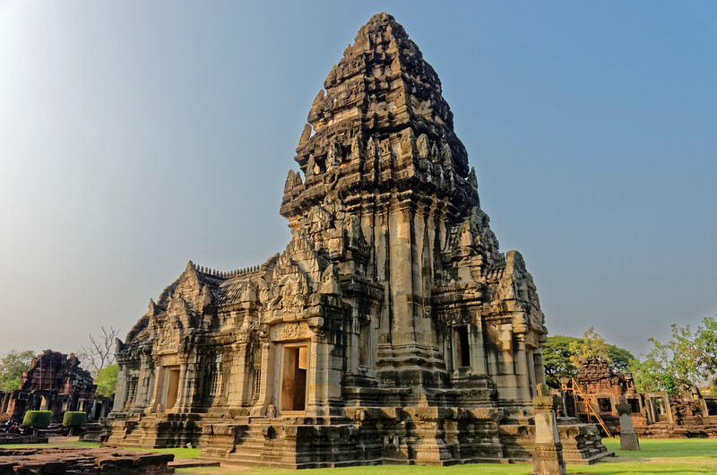 Phimai incorporated innovative strategies in both the approach to and the design of the Khmer sanctuary's central tower, symbolizing Mount Meru, home of the gods and axis of the universe in Hindu cosmology. The resulting structure, termed a <i>prang,</i> attained the look of a unified whole rather than that of a superstructure perched atop a base, which had typified earlier Khmer designs. Such innovations would affect the design of later Khmer sanctuaries—notably and most immediately that of Angkor Wat, built soon after Phimai.