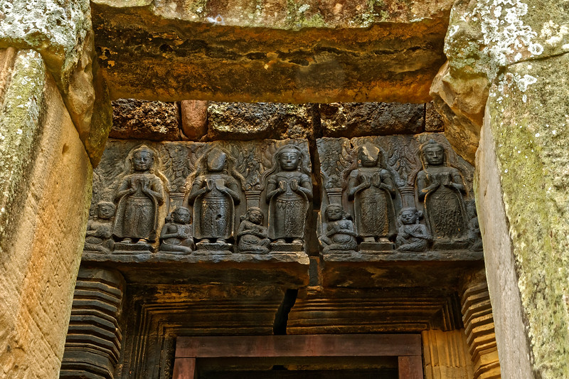 Lintel over the southern entry to Prang Brahmadat. The structure, built later than the central tower, dates from the 13th century.