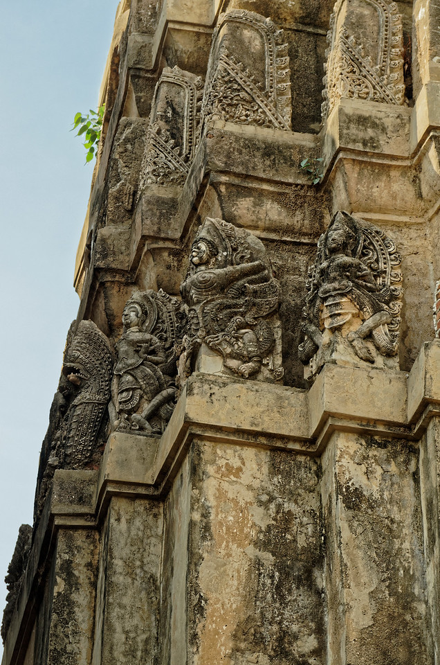 Detail of ornamentation on the central tower, with figures derived from Hindu mythology