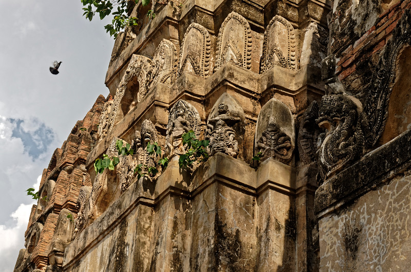 Some of the decorative ornamentation on the towers at Wat Si Sawai featuring figures from Hindu tradition