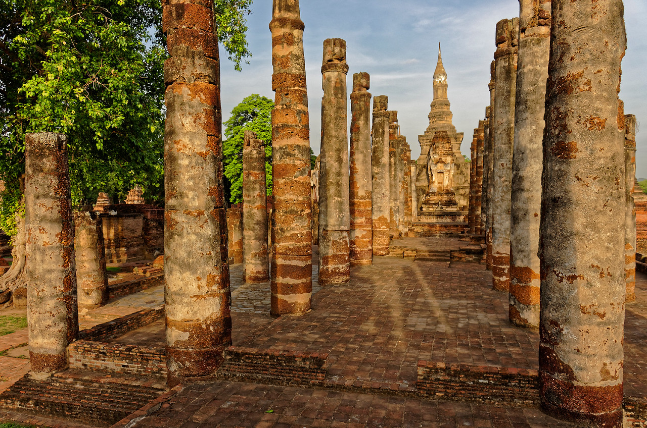 Two <i>viharn,</i> or assembly halls, were sited in front of the central sanctuary. All that remains of them today are their platforms and the laterite columns that once supported their roofs.