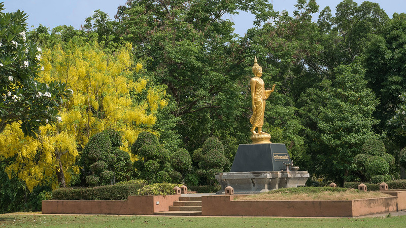 On the way into the park, a glorious golden shower tree in full flower and a somewhat unfortunate rendition of a Sukhothai-style Walking Buddha