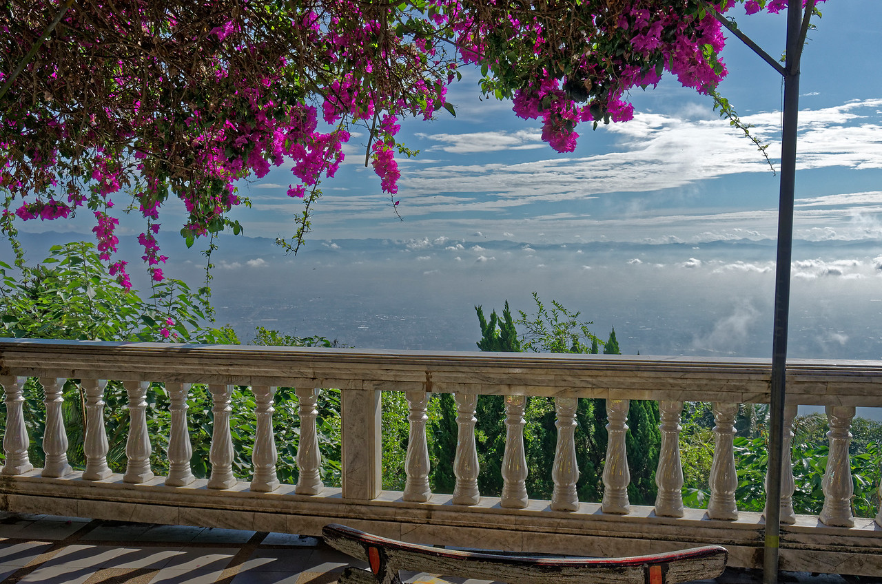 Bougainvillea and a view from the lower terrace, Wat Doi Suthep, Chiang Mai