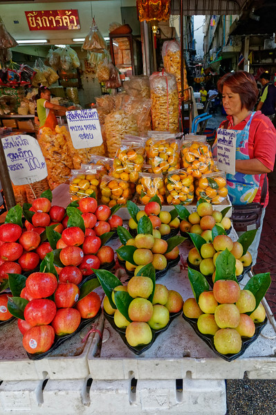 Beautiful apples (actually imported from the U.S.) and oranges in Chinatown, Bangkok