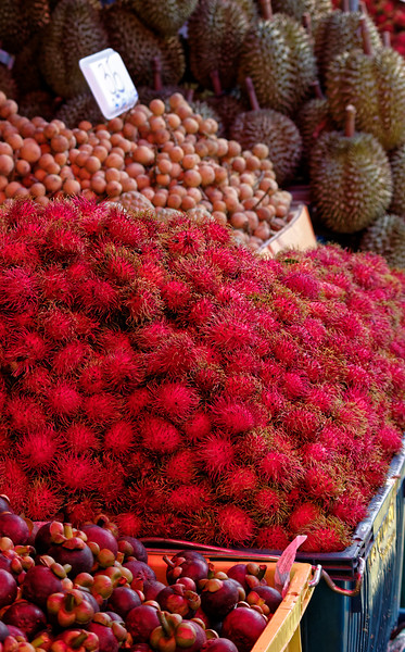 Rambutan, with mangosteen in the foreground, longan and durian in back