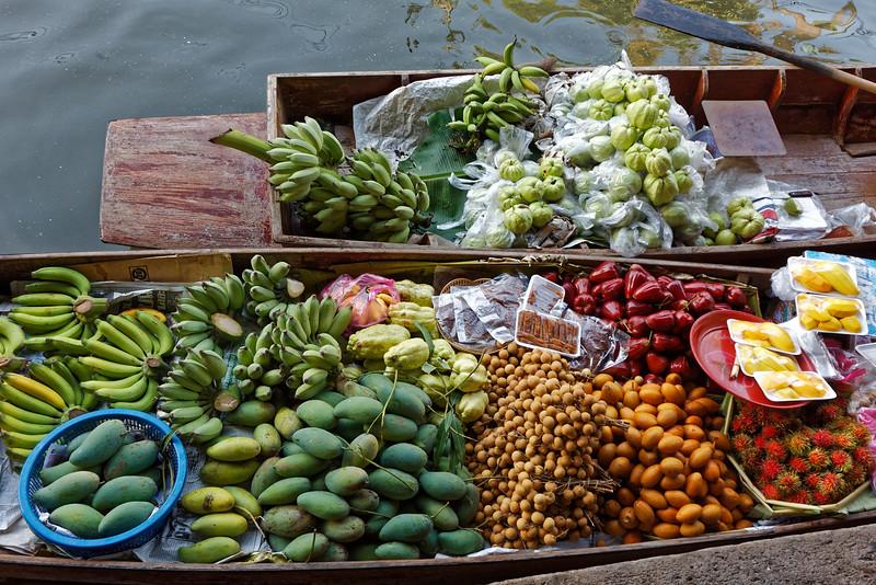 A variety of fresh fruits at the floating market at Damnoen Saduak