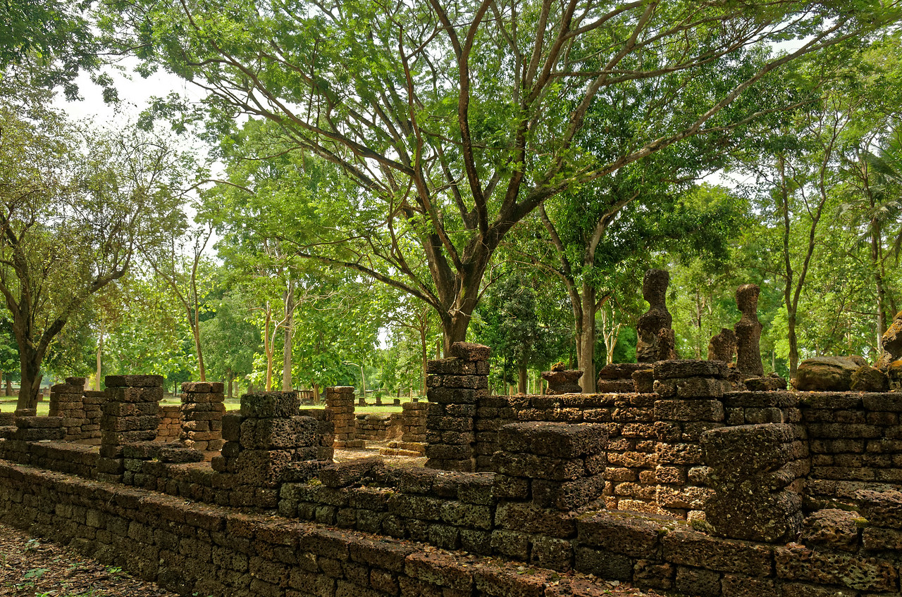 Partial view of the ruins at Wat Chao Chan, a Khmer sanctuary dating from the 13th century, located near Si Satchanalai, north central Thailand
