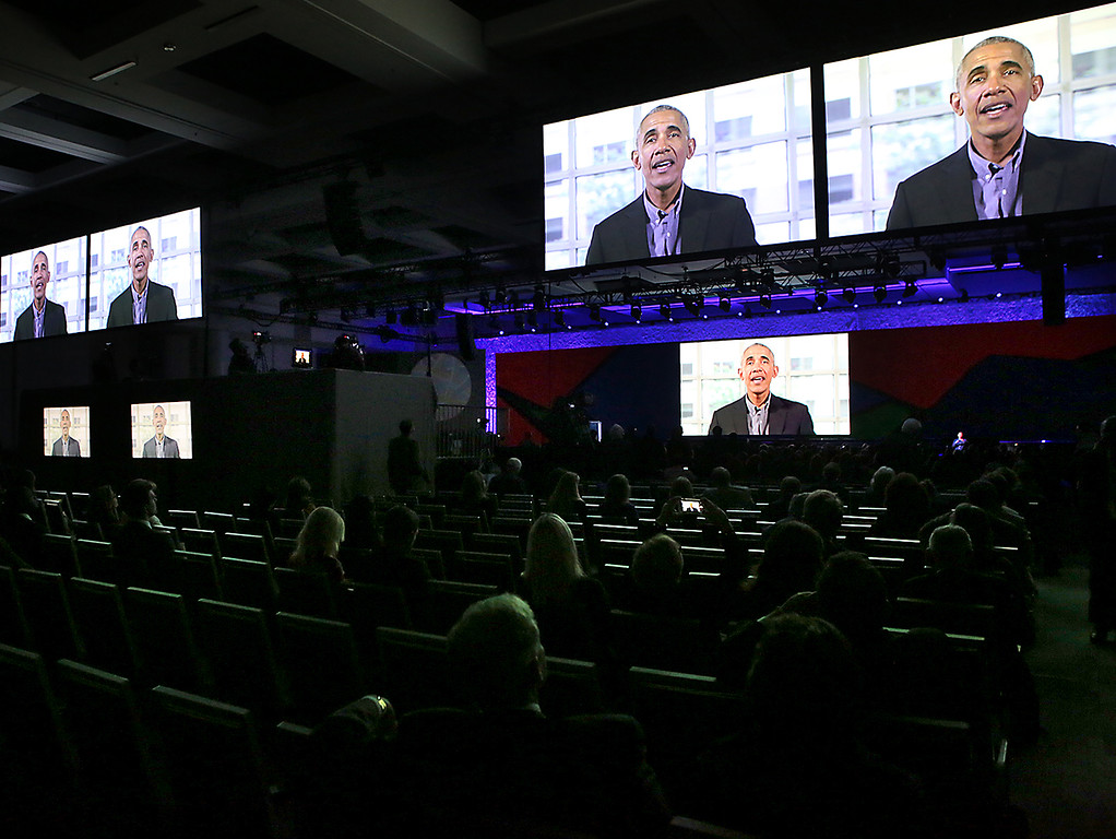 . A message of encouragement from former President Barack Obama is presented at the Global Action Climate Summit in San Francisco on Thursday.  (Shmuel Thaler -- Santa Cruz Sentinel)