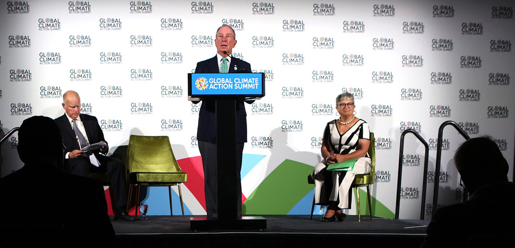 . Special Envoy for Climate Action, and former mayor of New York City, Mike Bloomberg speaks at the Global Action Climate Summit on Thursday.  (Shmuel Thaler -- Santa Cruz Sentinel)