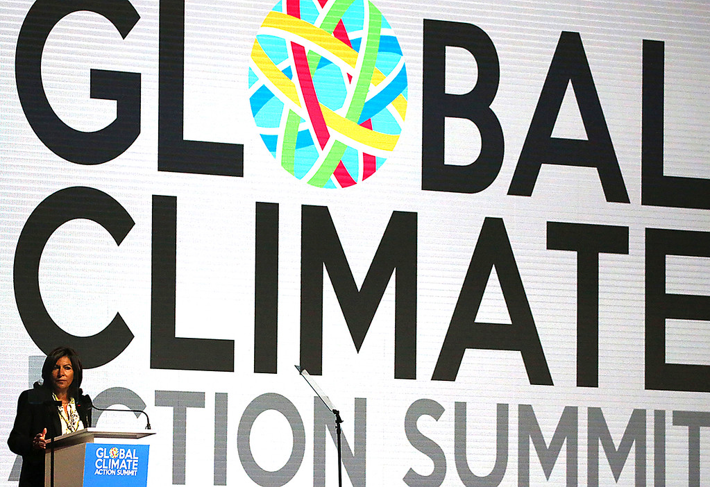 . Paris, France Mayor Anne Hidalgo speaks at the Global Action Climate Summit at the Moscone Center in San Francisco on Thursday.  (Shmuel Thaler -- Santa Cruz Sentinel)