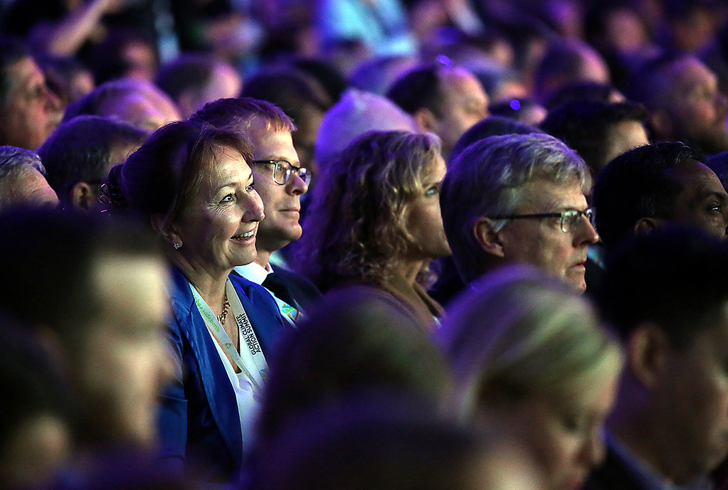 . Attendees to the Global Climate Action Summit listen to speakers during the Plenary on Thursday.  (Shmuel Thaler -- Santa Cruz Sentinel)
