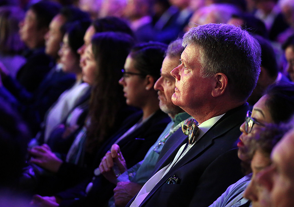 . Assemblymember Mark Stone, who lives in Scotts Valley, listens to the plenary of the Global Climate Action Summit in San Francisco on Thursday. (Shmuel Thaler -- Santa Cruz Sentinel)