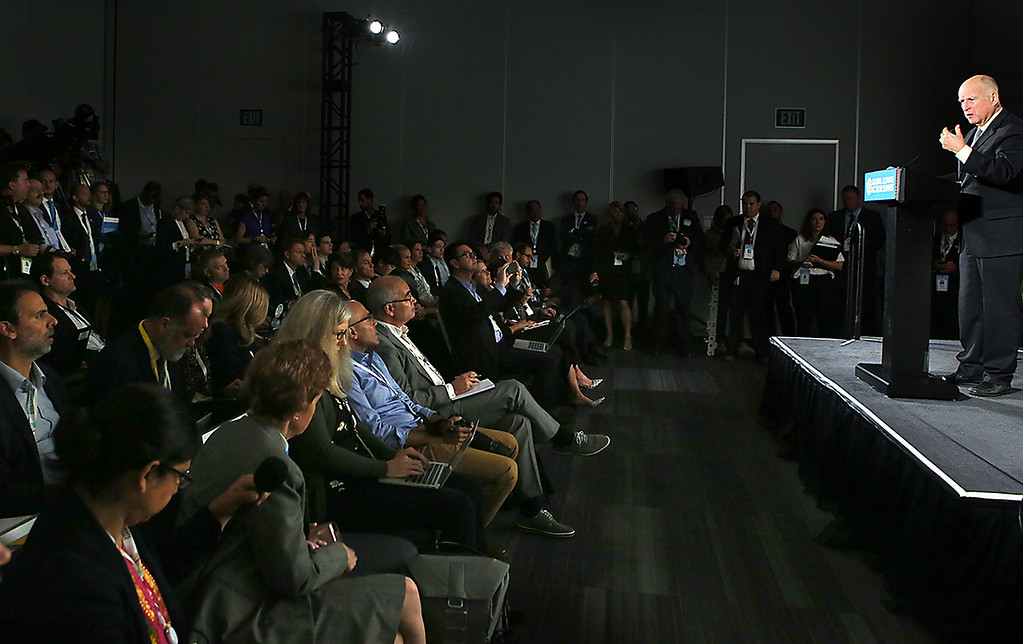 . California Governor Jerry Brown speaks about the urgency of reducing carbon emissions during a press conference at the Global Action Climate Summit in San Francisco on Thursday.  (Shmuel Thaler -- Santa Cruz Sentinel)