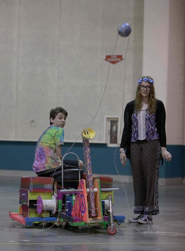 148-73384- Pace of Change- Technical Challenge- Middle Level- Lake Geneva Schools- BOTTLECAPS - Wisconsin, Destination Imagination photo; photographer: Abbey Hoekzema