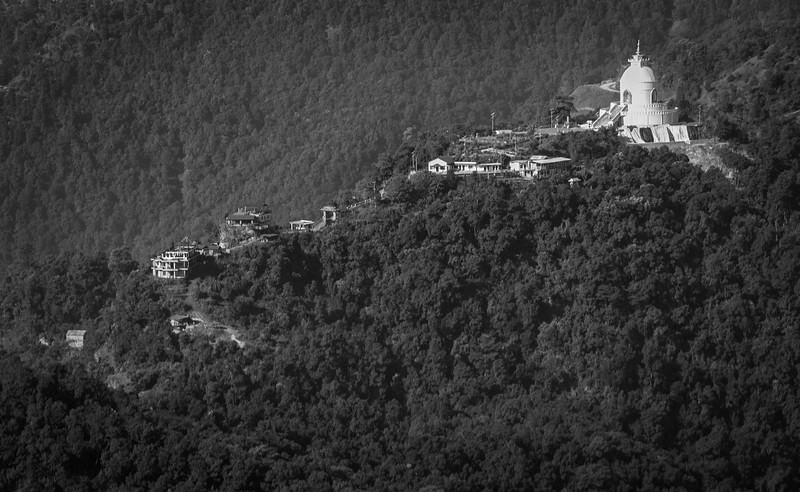 The Pokhara Shanti Stupa overlooks Pokhara and Phewa Lake