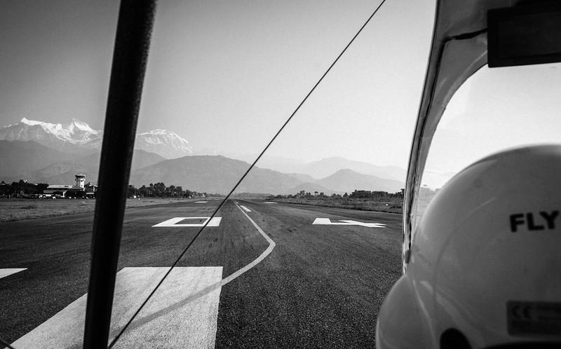 Heading down the runway at Pokhara Airport