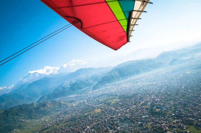 Flying over Pokhara, Nepal in an ultralight