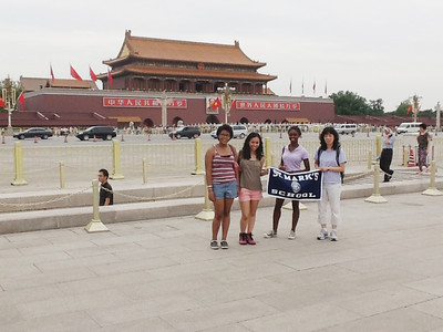The St. Mark's group with the School banner at Tiananmen Square