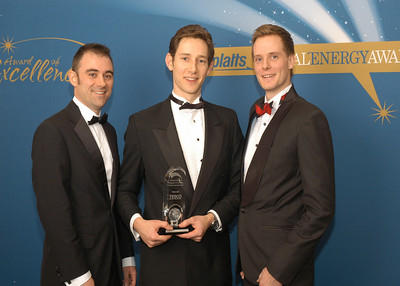 Richard Morgan, Technical Director of EnergyICT UK; Richard Lee, Head of Energy and Christian Greenwood, Energy Manager for Tesco, accept the award for 2010 Energy Efficiency Program of the Year - Commercial End-User.