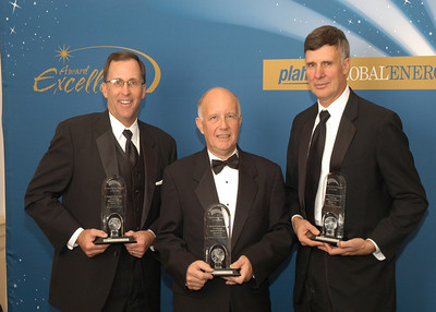 James Malone, Vice President, Sales and Marketing for Babcock & Wilcox; Dennis Fuster, Vice President, Project Construction for First Energy and Robert Kasper, Program Director for Bechtel, accept the 2010 award for Construction Project of the Year.