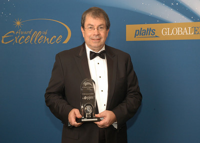Terry Boston, President and CEO of PJM Interconnection, accepts the 2010 Industry Leadership Award.