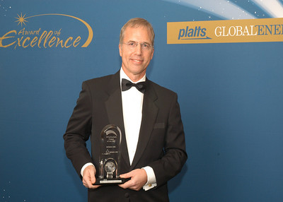 Paul Dubetz, Former Commercial Manager of Adriatic LNG, accepts the 2010 award for Infrastructure Project of the Year.