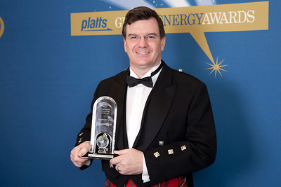 Rod MacGregor, President and CEO of GlassPoint Solar, accepts the 2011 award for Commercial Technology of the Year.