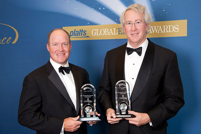 Jeff Mobley, Senior Vice President and Aubrey McClendon, CEO for Chesapeake Energy accept the 2011 awards for Deal of the Year and Industry Leadership Award.