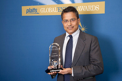 Prabhakar Nair, VP Business Development Asia for LanzaTech, accepts the 2011 award for Sustainable Technology Innovation of the Year.