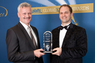 Colin Anderson, CEO and Andrew Pride, Vice President, Conservation of Ontario Power Authority accept the 2011 Energy Efficiency Program of the Year - Energy Supplier award.