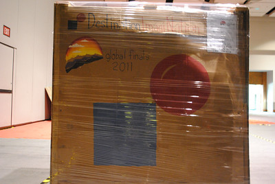 Props are shipped to Knoxville ahead of time. One group decorated their pallet with the Destination ImagiNation and Global Finals logos.