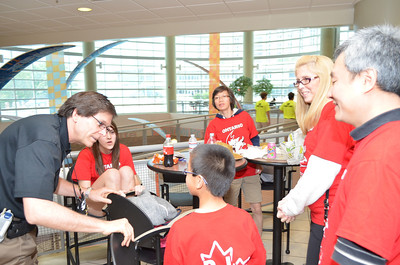 Destination Imagination CEO Chuck Cadle welcomes the first team from Pickering, ONT.