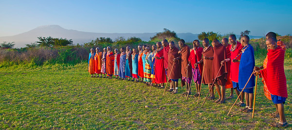 Welcome Reception at a Maasai Village, with Kilimandjaro in the background