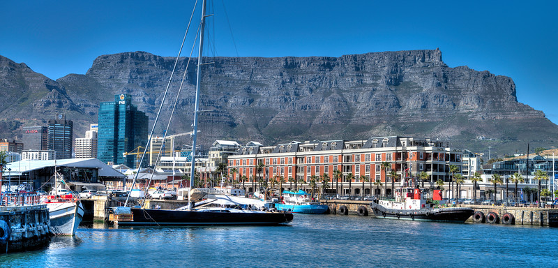 Cape Town Harbor with Table Mountain
