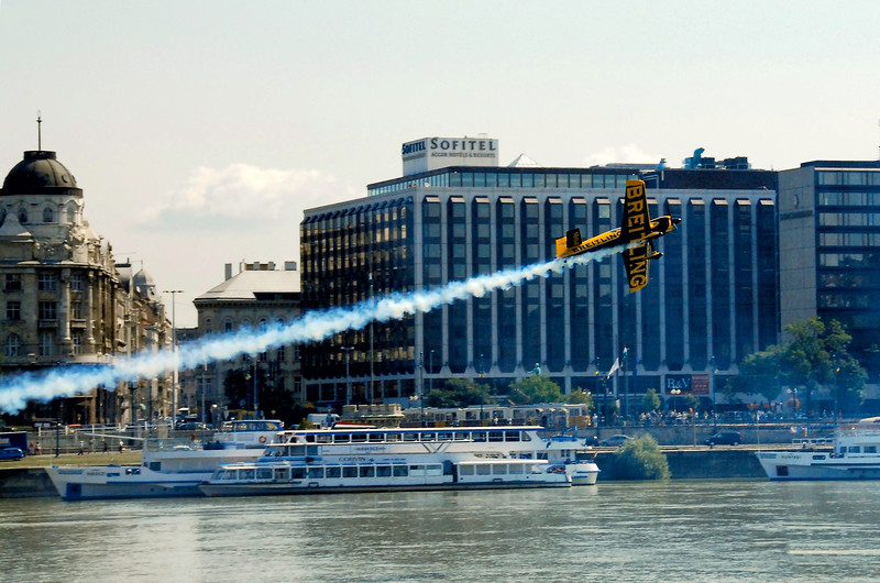 Flight Show above the Danube, Budapest, Hungary