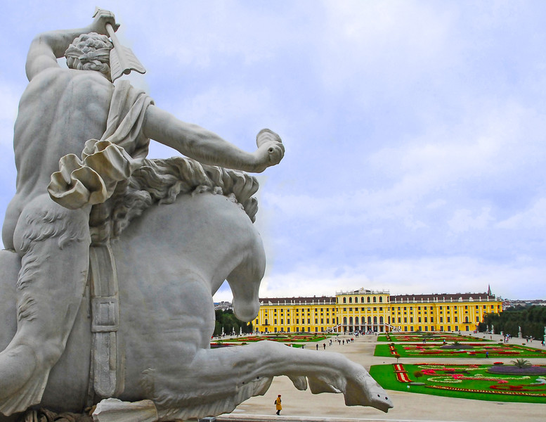 Schoenbrunn Palace from Poseidon Fountain, Vienna