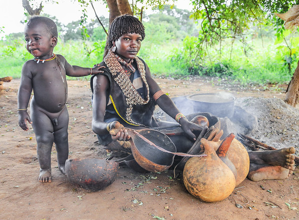Mother and Son from Banna Tribe - Omo Valley, Ethiopia
