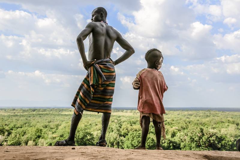 Karo Father and Son - Omo Valley, Ethiopia