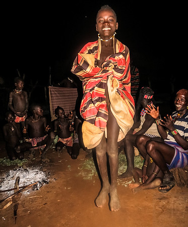 Dancing Night in the fire with Banna Tribe - Omo Valley, Ethiopia