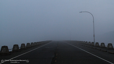 The visibility along the Oroville Dam dwindles as night falls December 13, 2016 in Oroville, California. (Emily Bertolino -- Mercury Register)