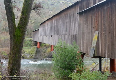 Comparison photo for one that is posted at the Honey Run Covered Bridge as Butte Creek slowly begins to swell below the Honey Run Covered Bridge as a little bit of rain falls in Chico, Calif. Tuesday Dec. 13, 2016. More rain is expected Wednesday. (Bill Husa -- Enterprise-Record)