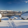 Ravnestad<br /> Winter view from the mountain towards the fjord<br /> Vinter utsikt frå Ravnestadstøylen